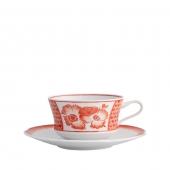 Vista Alegre Coralina Tea Cup And Saucer Set Of 4 Red