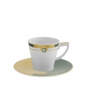 Vista Alegre Emerald Coffee Cup With Saucer Set Of 4 Multi