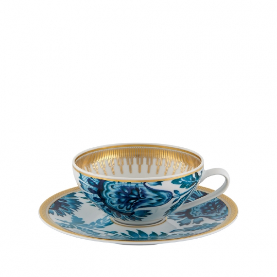 Gold Exotic Tea Cup with Saucer Set of 4