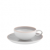 Vista Alegre Maya Tea Cup And Saucer Set Of 4 Gray