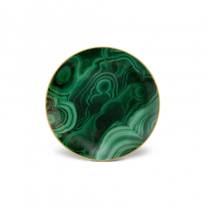 L'Objet Malachite Canape Plates Set of 4