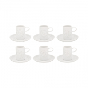 Ornament Set of 6 Coffee Cups and Saucers