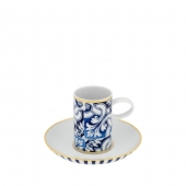 Vista Alegre Transatlantica Coffee Cup And Saucer Set Of 4 Blue