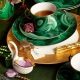 L'Objet Malachite Tea Cup & Saucer Set Of 2 Green