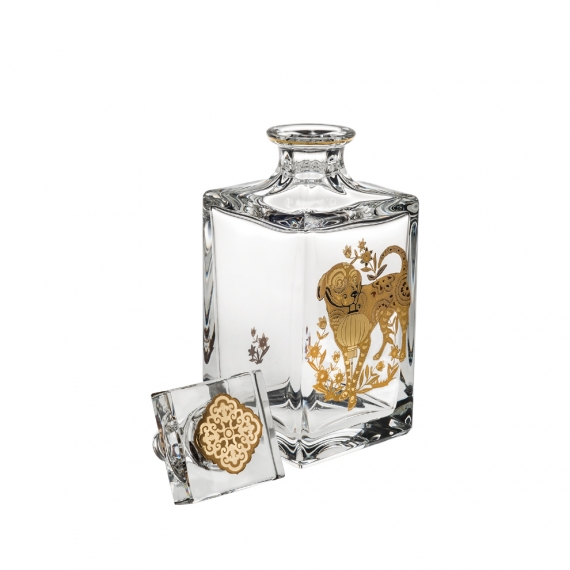 Golden Whisky Decanter with Gold Dog