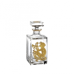 Golden Whisky Decanter with Gold Monkey
