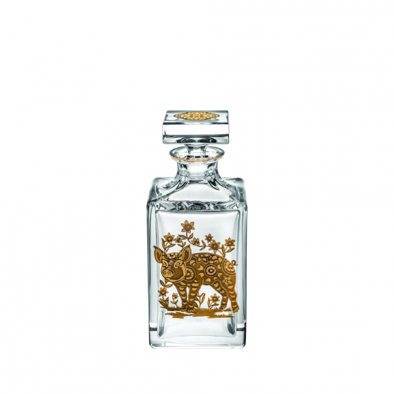 Golden Whisky Decanter with Gold Pig