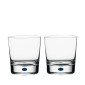 Orrefors Intermezzo Blue Double Old Fashioned Pair Clear