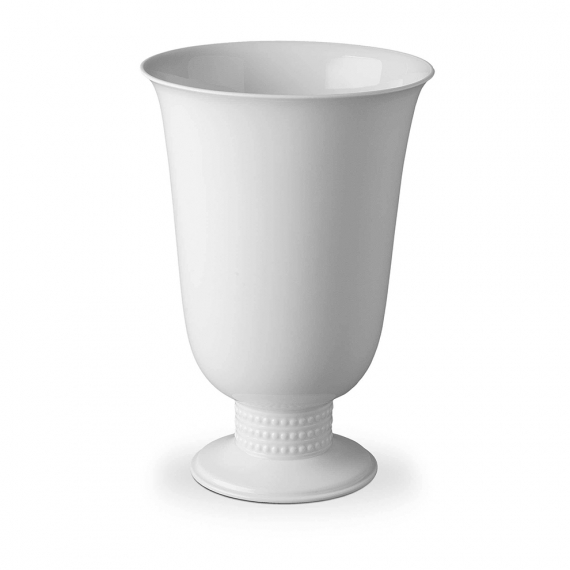 Perlée Footed Vase - White
