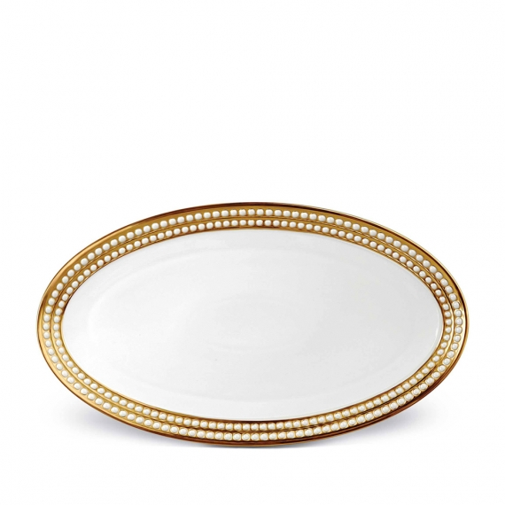 Perlée Large Oval Platter - Gold