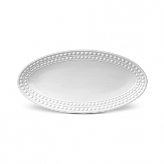 Perlée Small Oval Platter - White