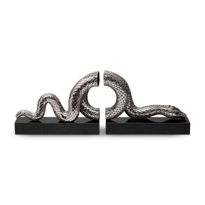 L'Objet Snake Bookend Set of 2 Silver