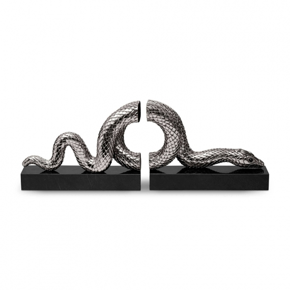 Snake Bookend Set of 2 - Silver