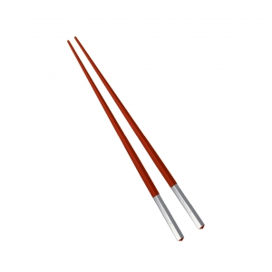 Christofle Uni Silver-Plated Red Japanese Chopsticks Red