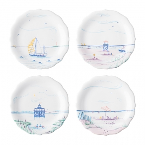 Country Estate Seaside Party Plates, Assorted Set Of 4