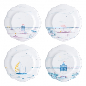 Country Estate Seaside Melamine Dessert / Salad Plates, Assorted Set Of 4