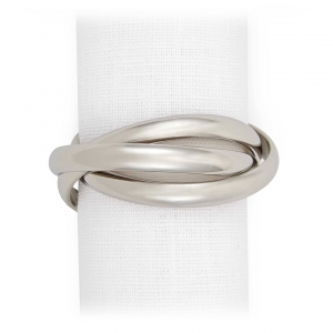 L'Objet Three Ring Napkin Jewels Set of 4 Silver