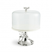 Michael Aram White Orchid Cake Stand With Dome Silver