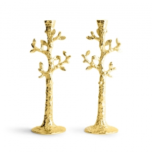 Tree Of Life Candle Holder Gold Set Of 2