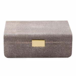 Modern Shagreen Large Jewelry Box - Chocolate