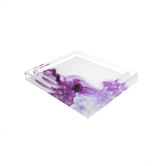 Acrylic Cocktail Magenta Smoke Tray