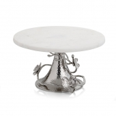 Michael Aram White Orchid Cake Stand Silver