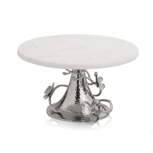 Michael Aram White Orchid Cake Stand Sliver